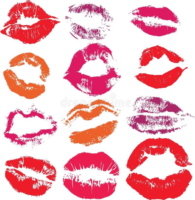 Insieme del bacio degli orli della stampa illustrazione di stock