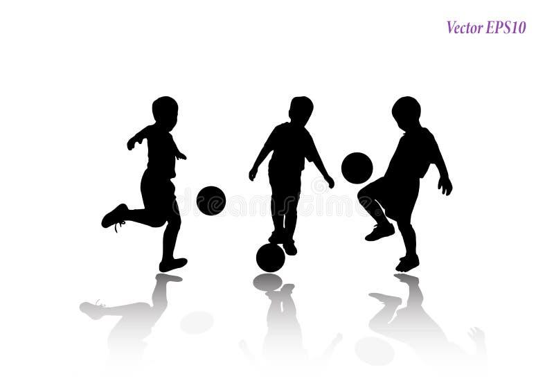 Insieme del bambino che gioca a calcio allo studio Isolato su backg bianco illustrazione di stock
