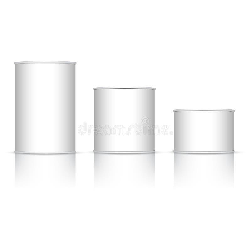 Insieme del barattolo di latta bianco e metallico con il cappuccio bianco Derisione su Vettore illustrazione di stock