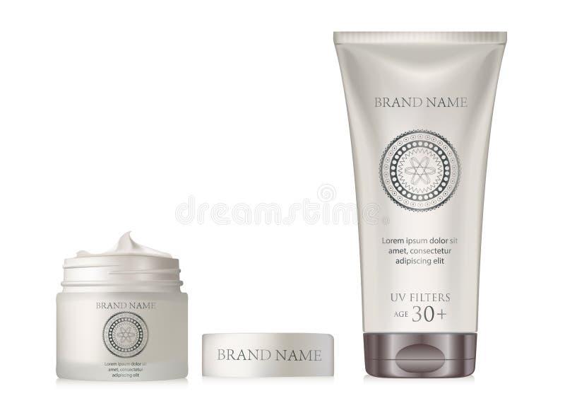 Insieme del barattolo e della metropolitana dell'argento della perla della crema di fronte Cosmet in bianco realistico illustrazione vettoriale