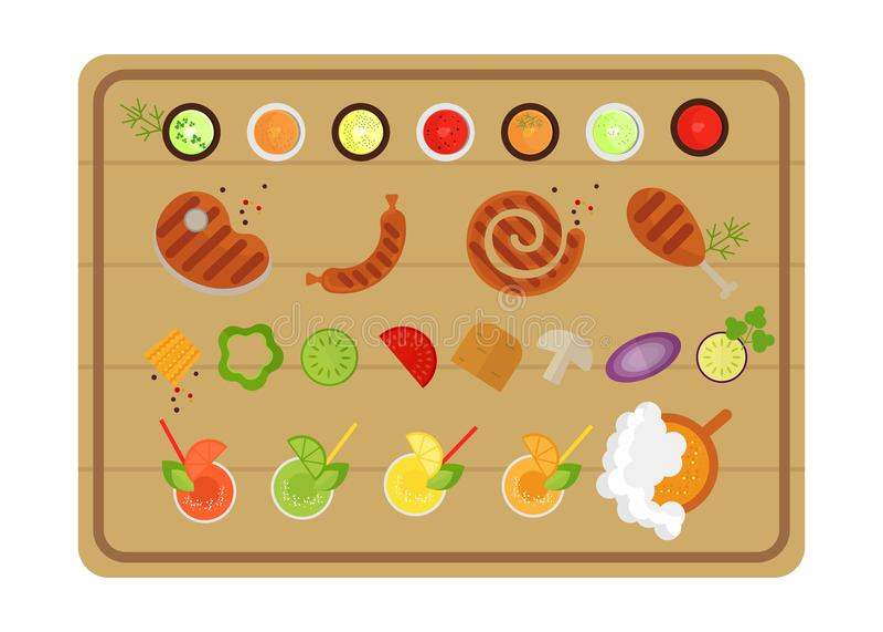 Insieme del Bbq di alimento per il bbq illustrazione vettoriale