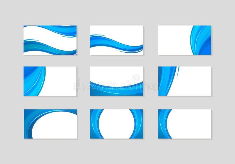Insieme del biglietto da visita con le onde blu astratte illustrazione di stock