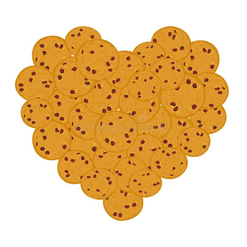 Insieme del biscotto di pepita di cioccolato del cuore, di recente quattro biscotti al forno su fondo bianco Colori luminosi Vett illustrazione di stock