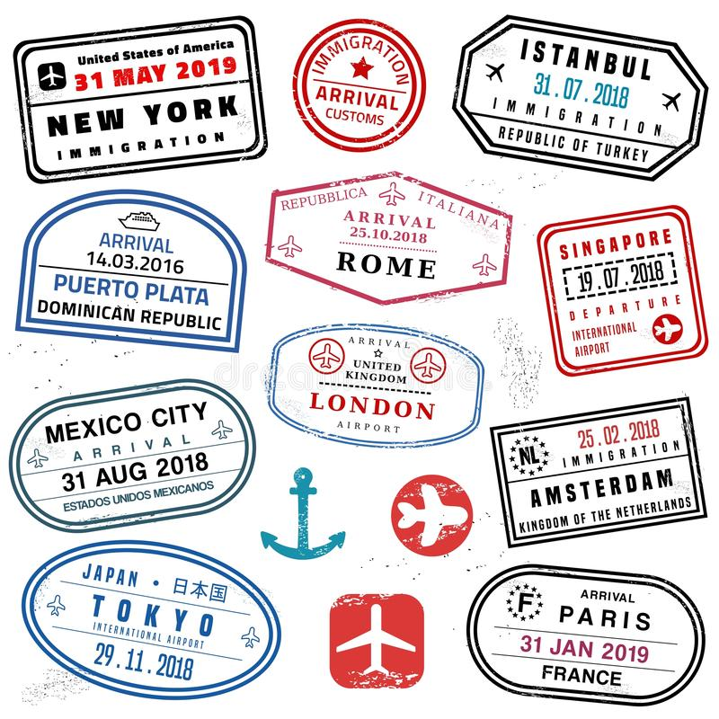 Insieme del bollo del passaporto illustrazione vettoriale