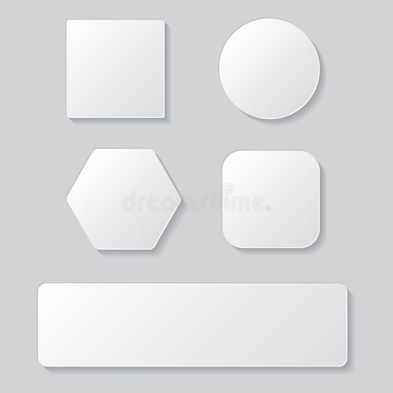 Insieme del bottone in bianco bianco Bottoni arrotondati quadrato rotondo illustrazione vettoriale