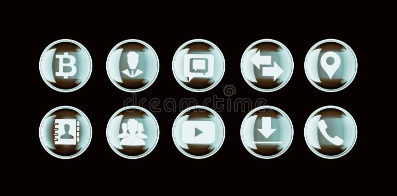 Insieme del bottone 3d ed icone piane per l'affare, SEO ed il med del sociale immagini stock