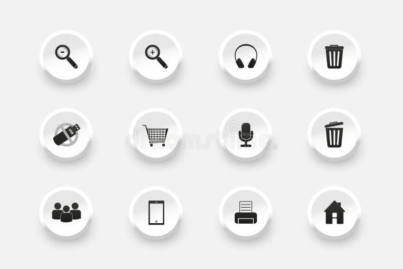 Insieme del bottone - icone per web design - illustrazioni di vettore - isolate su fondo bianco illustrazione di stock