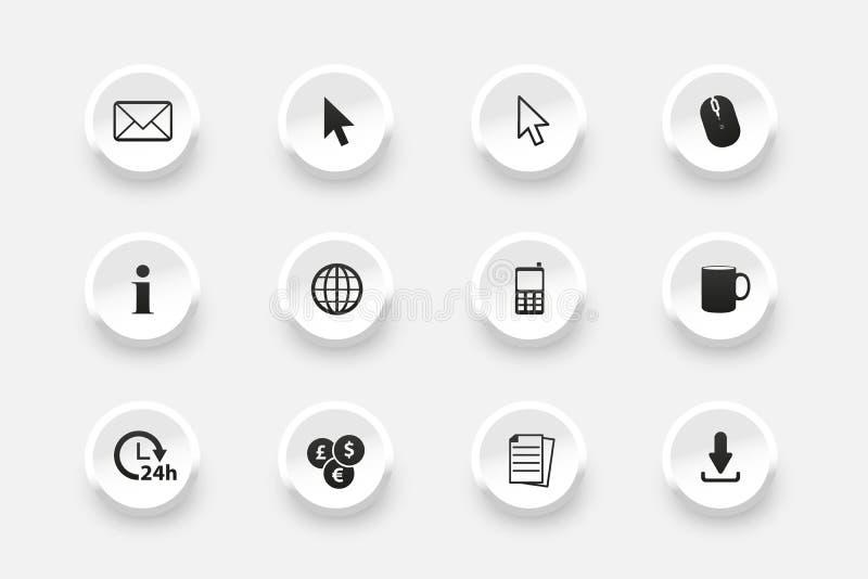 Insieme del bottone - icone per web design - illustrazioni di vettore - isolate su fondo bianco illustrazione vettoriale