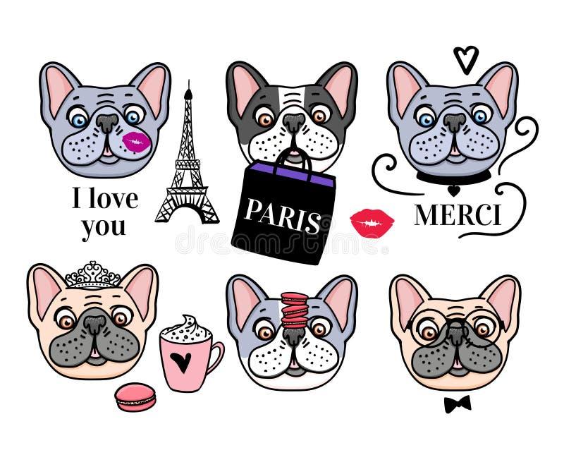 Insieme del bulldog francese Torre Eiffel e fronti svegli del cane Disegnato a mano di vettore isolato illustrazione vettoriale