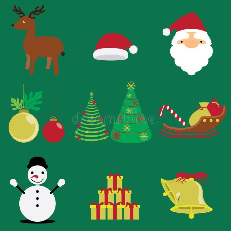 Insieme del Buon Natale di inverno e vettori ed icone di festa illustrazione vettoriale