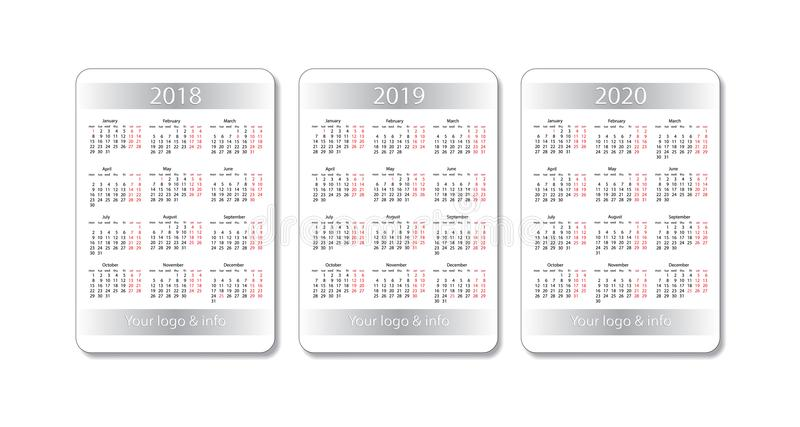 Insieme del calendario della tasca di vettore 2018, 2019 e 2020 anni Modello bianco di disegno royalty illustrazione gratis