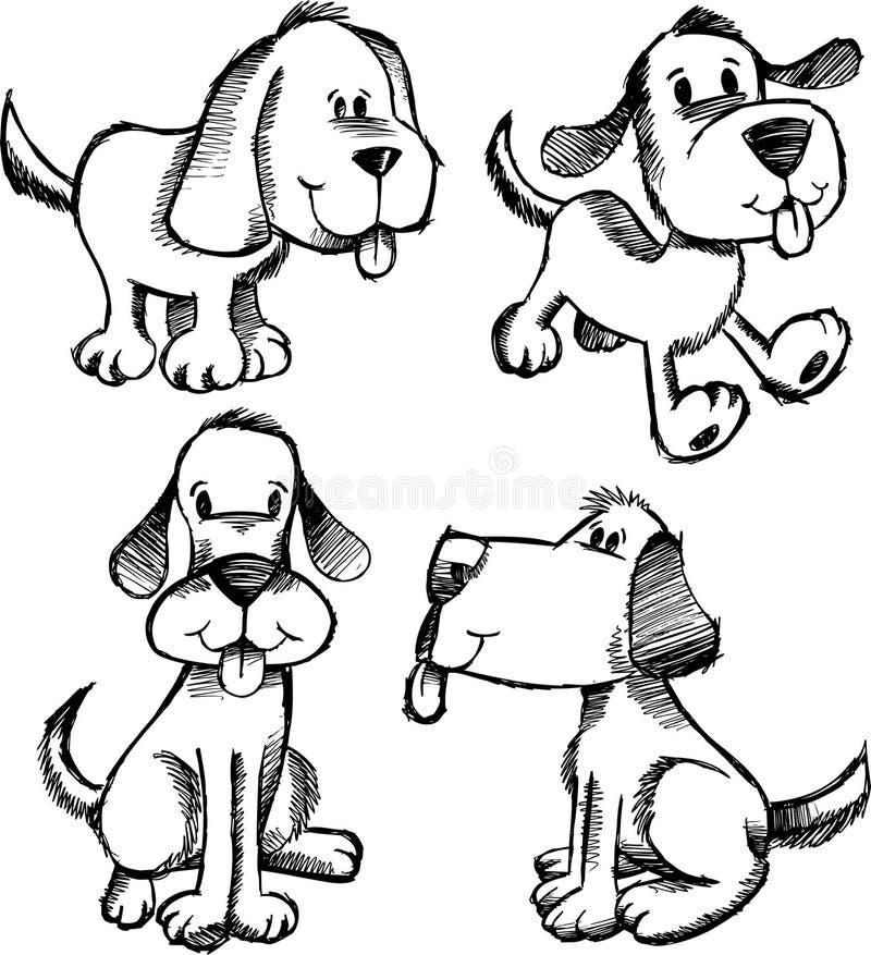Insieme del cane di abbozzo di Doodle