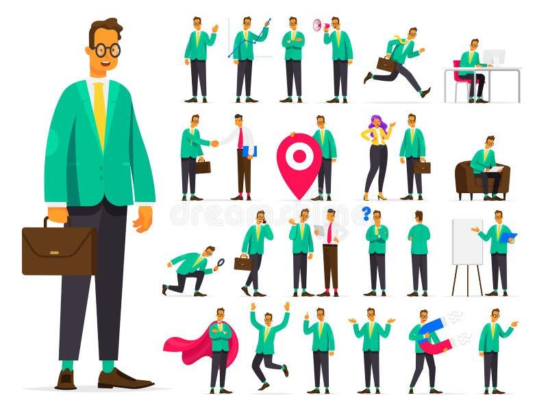 Insieme del carattere dell'uomo d'affari nelle situazioni differenti Si di lavoro illustrazione vettoriale