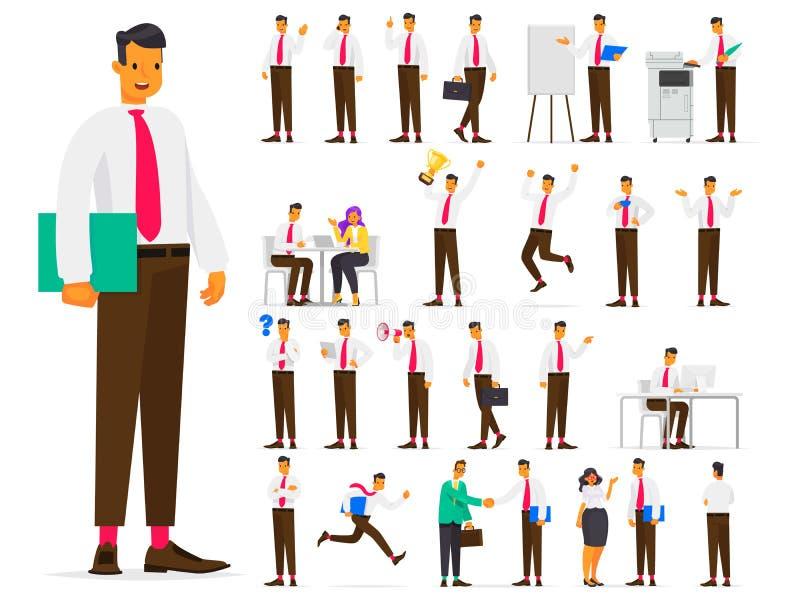 Insieme del carattere di affari nelle situazioni differenti sul lavoro Offi illustrazione di stock