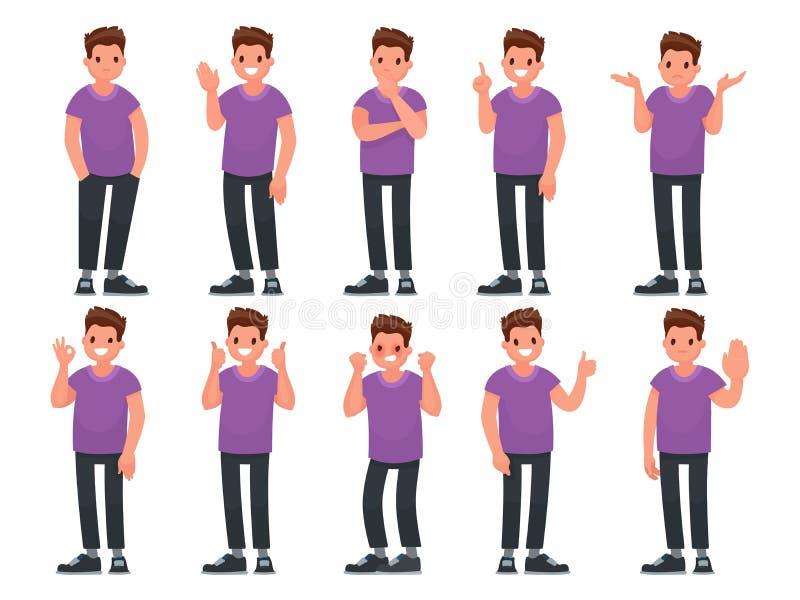 Insieme del carattere maschio con differenti gesti ed emozioni Illustrazione di vettore royalty illustrazione gratis