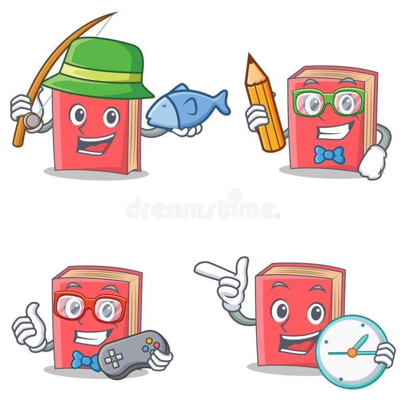 Insieme del carattere rosso del libro con l'orologio del gamer dello studente di pesca illustrazione di stock