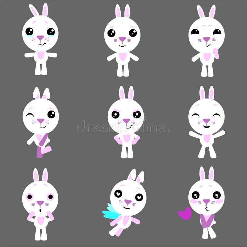 Insieme del carattere sveglio del coniglio di coniglietto con differenti emozioni Carattere del coniglietto del fumetto di vettor illustrazione vettoriale