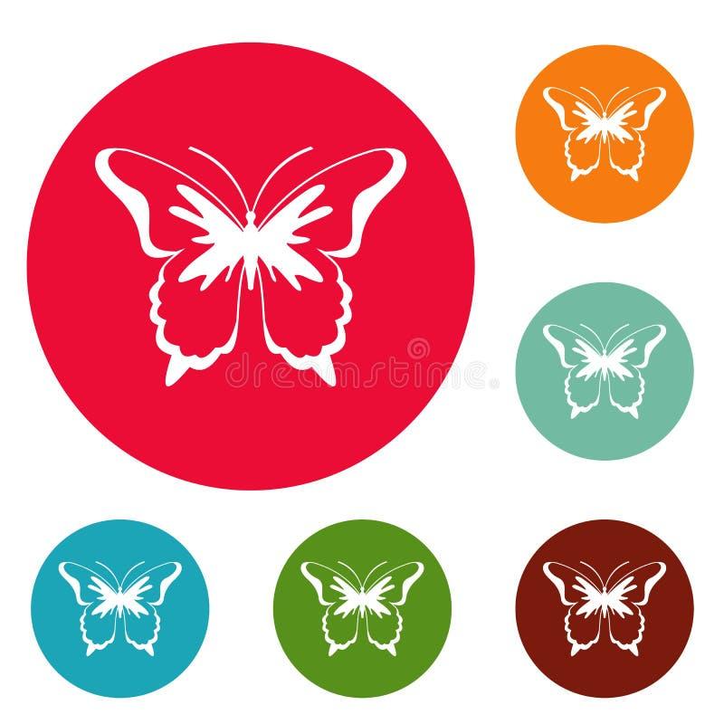 Insieme del cerchio delle icone della farfalla dell'insetto illustrazione di stock