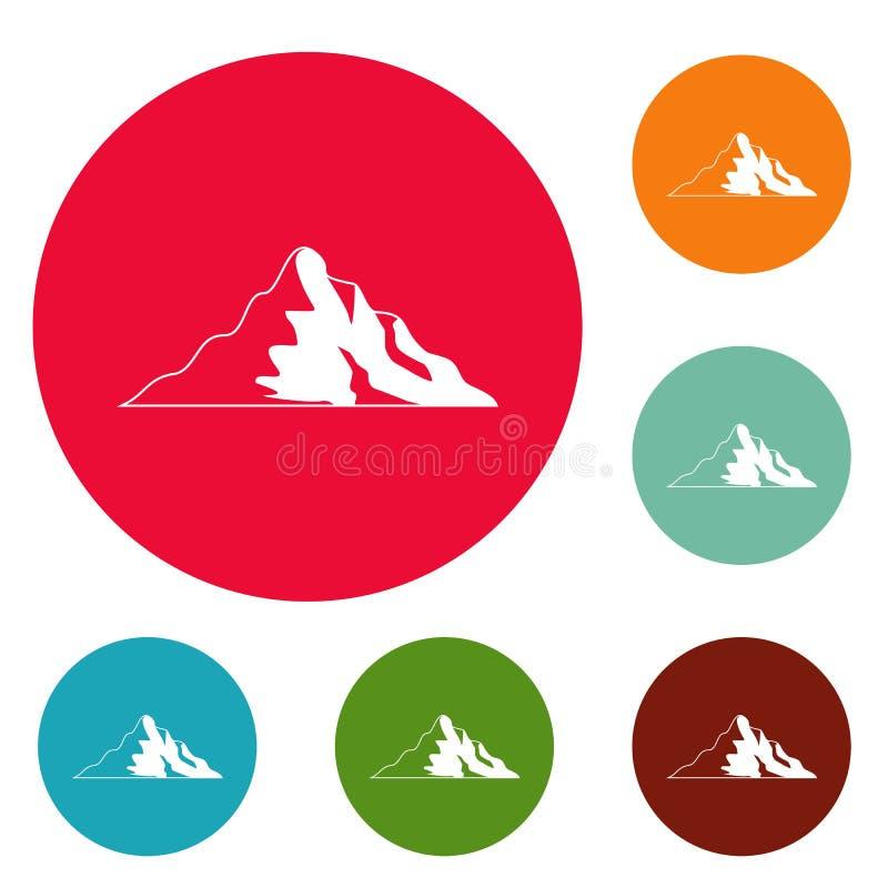 Insieme del cerchio delle icone della montagna della neve illustrazione vettoriale