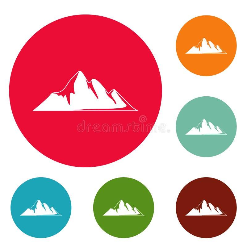 Insieme del cerchio delle icone di avventura della montagna illustrazione di stock