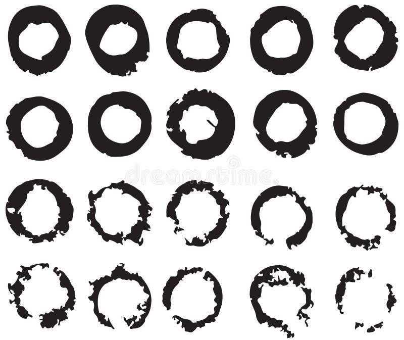 Insieme del cerchio nero, giro, colpi della spazzola illustrazione di stock