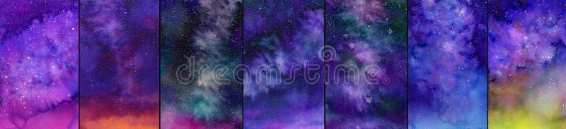 Insieme del cielo notturno o della galassia Illustrazioni dell'acquerello royalty illustrazione gratis