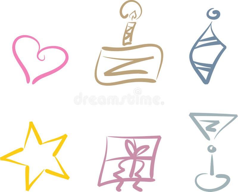 Insieme del clipart di festa e del partito royalty illustrazione gratis