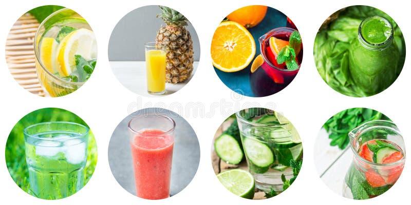 Insieme del collage delle icone rotonde del cerchio delle bevande sane e delle bevande della disintossicazione isolate su fondo b fotografia stock