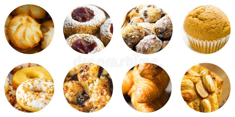 Insieme del collage delle icone rotonde del cerchio isolate su fondo bianco di vari generi dolci dei croissant dei muffin dei bis fotografia stock
