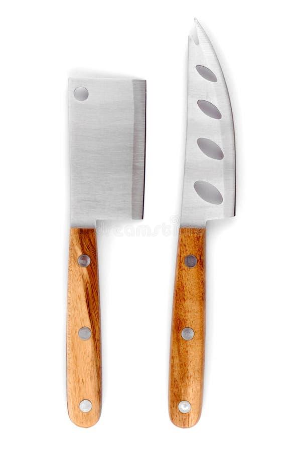 Insieme del coltello del formaggio isolato fotografie stock libere da diritti
