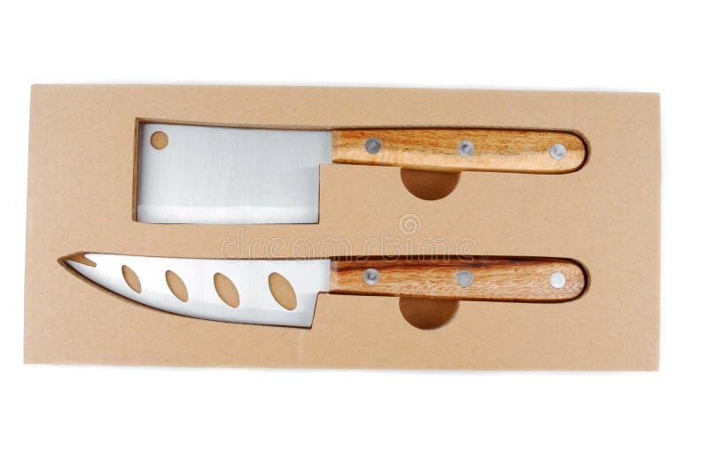 Insieme del coltello del formaggio isolato fotografia stock libera da diritti
