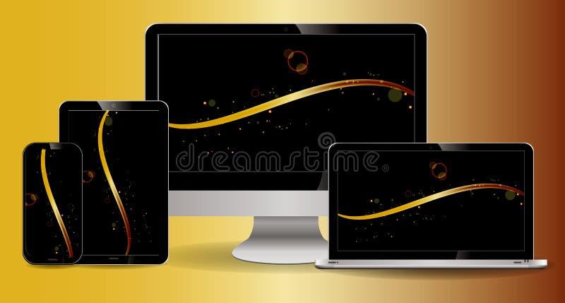 Insieme del computer portatile, della compressa, dell'affissione a cristalli liquidi del computer, dello smartphone con l'esposiz royalty illustrazione gratis