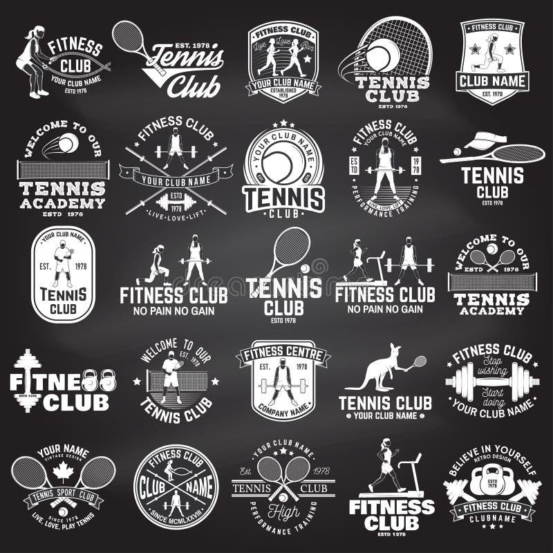 Insieme del concetto del club di tennis e di forma fisica con le ragazze che fanno esercizio e la siluetta del tennis illustrazione vettoriale