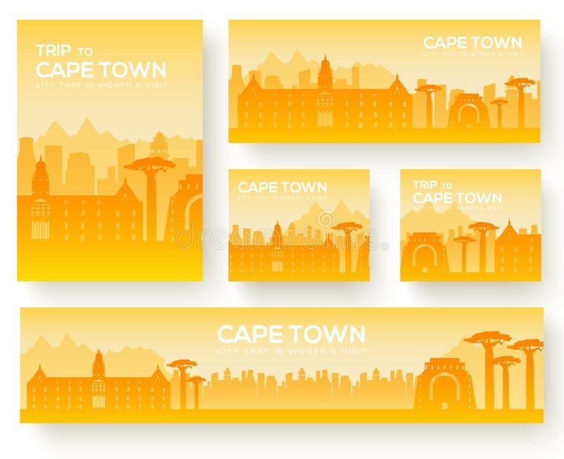 Insieme del concetto di giro di viaggio dell'ornamento del paese del paesaggio di Città del Capo Coltivi tradizionale, la rivista illustrazione di stock