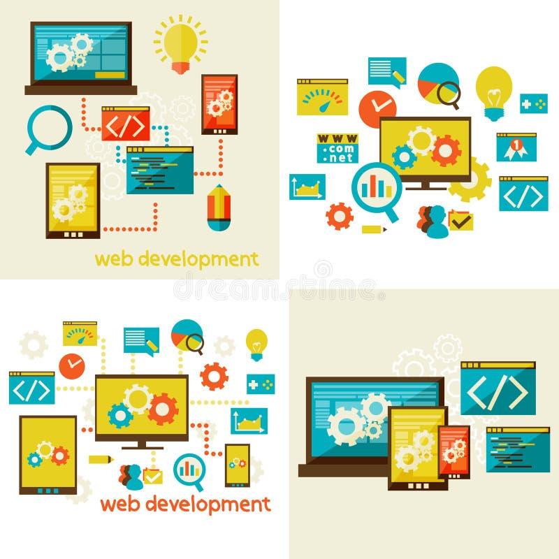 Insieme del concetto di progetto piano per il web royalty illustrazione gratis