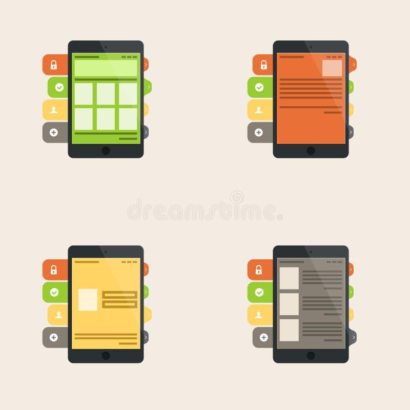 Insieme del concetto piano dell'interfaccia per i servizi di telefono cellulare e di web illustrazione vettoriale