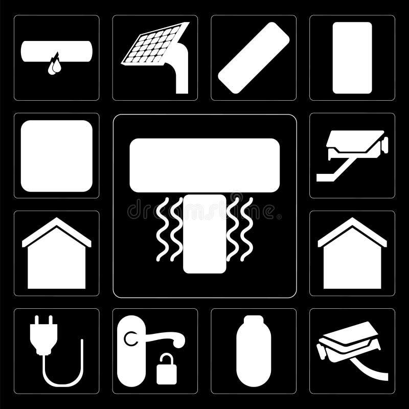 Insieme del condizionatore d'aria, videocamera di sicurezza, potere, maniglia, spina, MP illustrazione vettoriale
