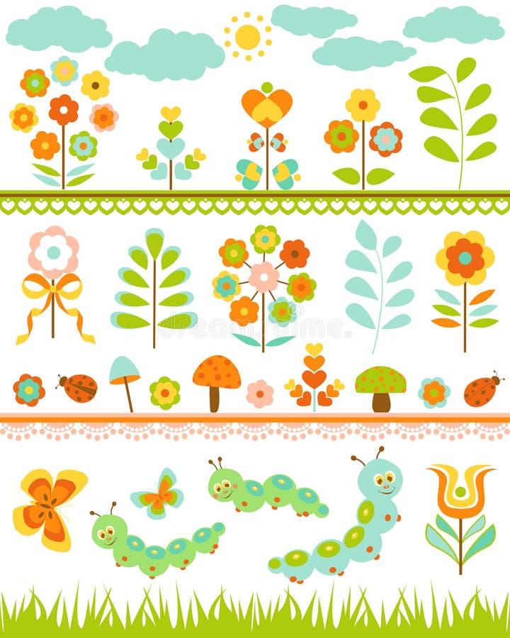 Insieme del confine floreale illustrazione vettoriale