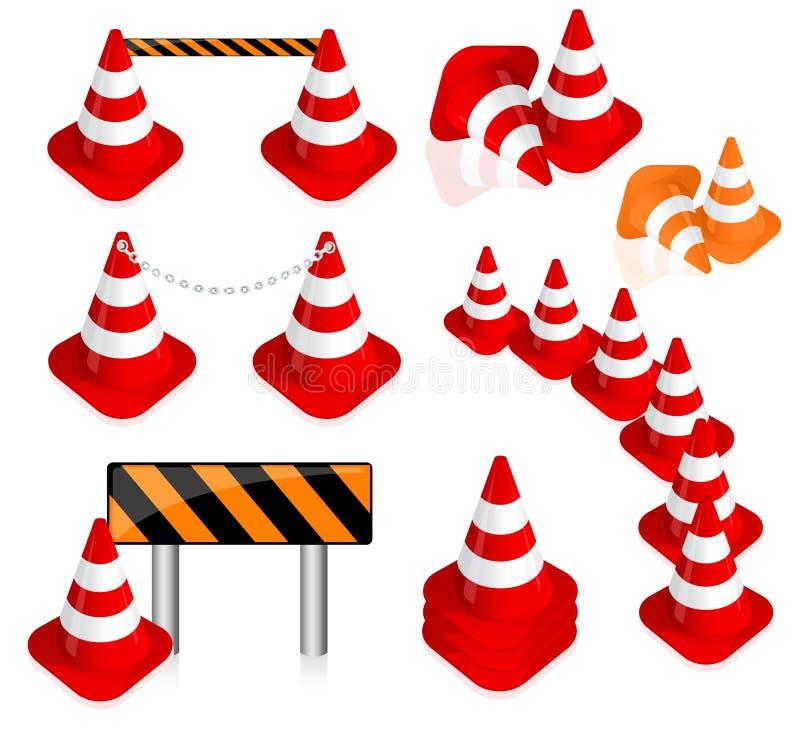 Insieme del cono di traffico illustrazione di stock