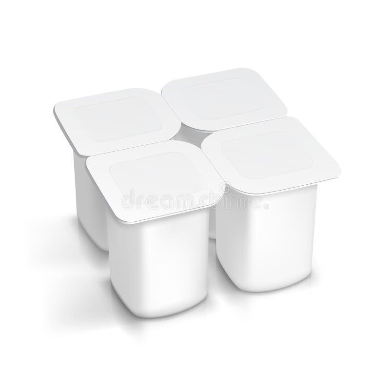 Insieme del contenitore d'imballaggio bianco in bianco per yogurt illustrazione di stock