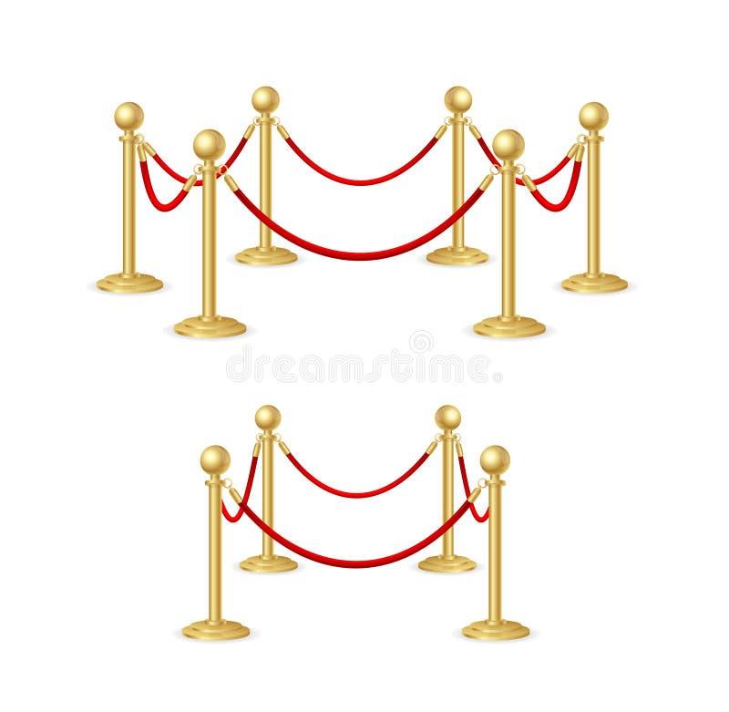 Insieme del costruttore della barriera della corda dell'oro Vettore royalty illustrazione gratis