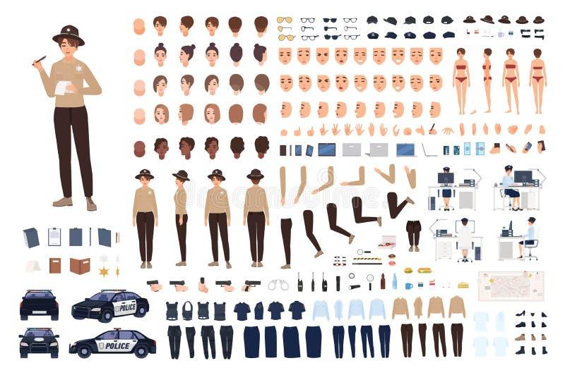 Insieme del costruttore della poliziotta o corredo di animazione Raccolta delle parti del corpo femminili dell'ufficiale di poliz royalty illustrazione gratis
