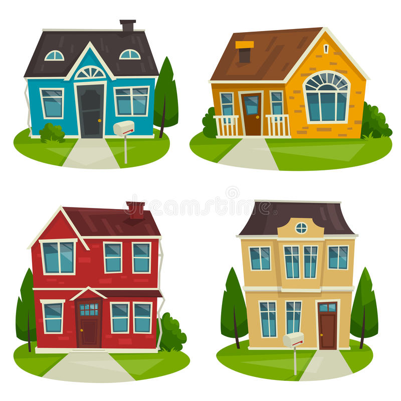 Insieme del cottage delle Camere, illustrazione del fumetto di vettore, progettazione esteriore illustrazione di stock