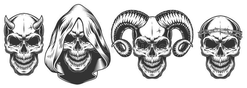 Insieme del cranio dei demoni con i corni illustrazione vettoriale