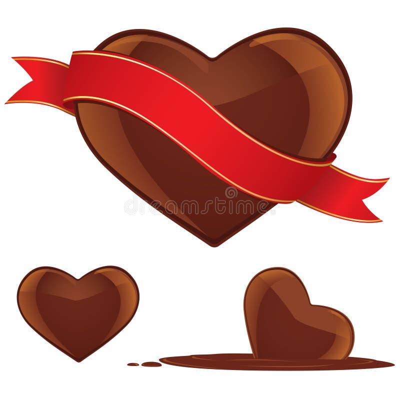 Insieme del cuore del cioccolato illustrazione di stock