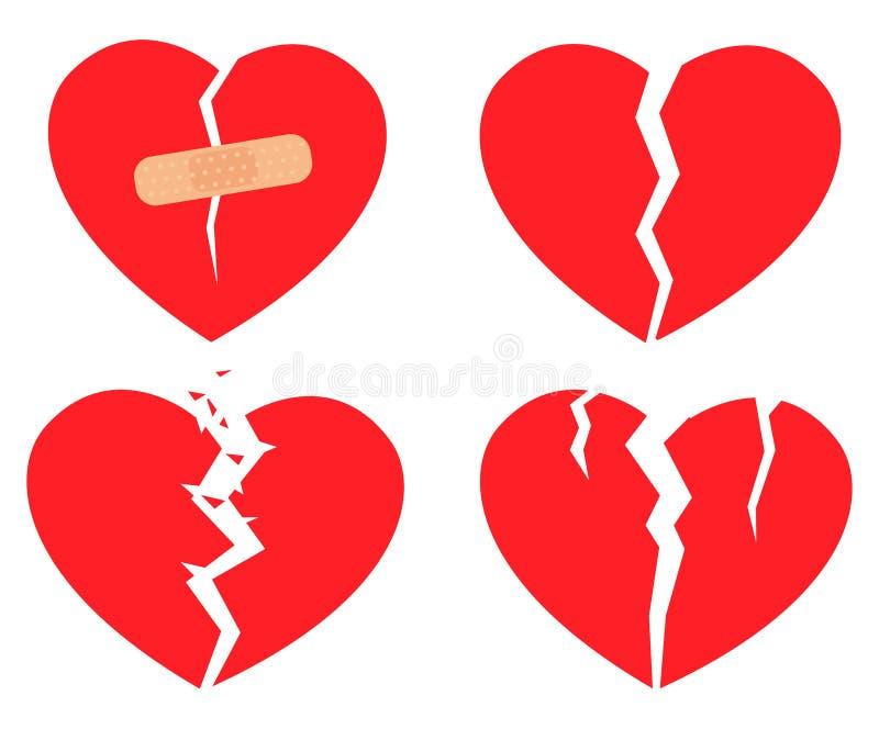 Insieme del cuore rotto delle icone royalty illustrazione gratis
