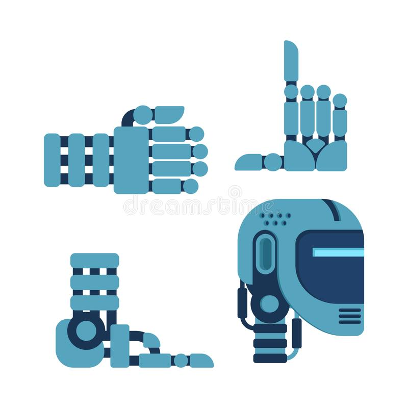 Insieme del cyborg delle parti del corpo Testa e mano del robot Gamba artificiale dentro illustrazione vettoriale