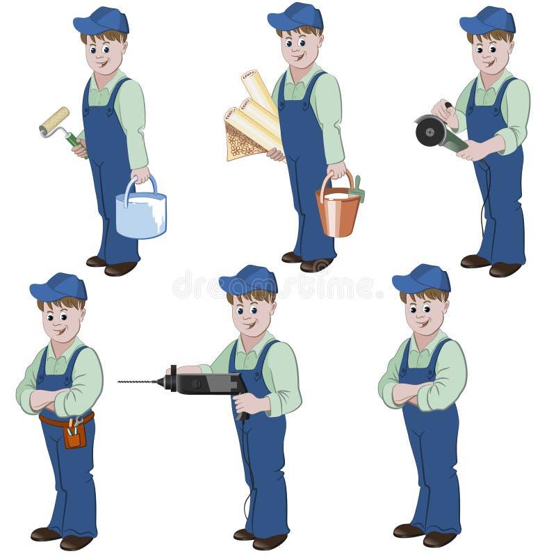 Insieme del decoratore o del tuttofare con attrezzatura per la riparazione illustrazione vettoriale