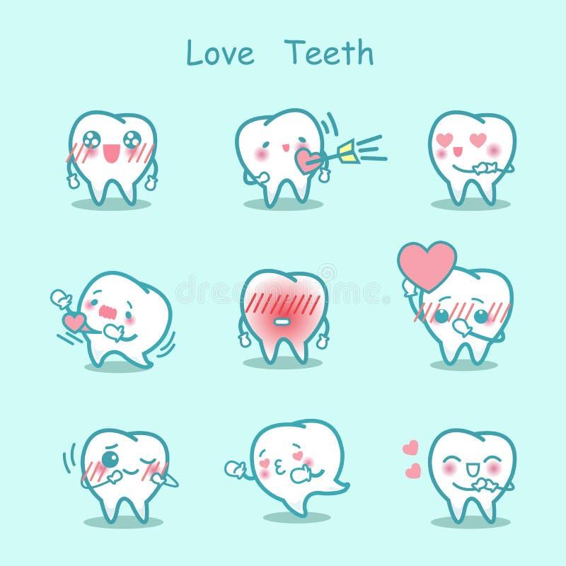 Insieme del dente del fumetto di amore royalty illustrazione gratis