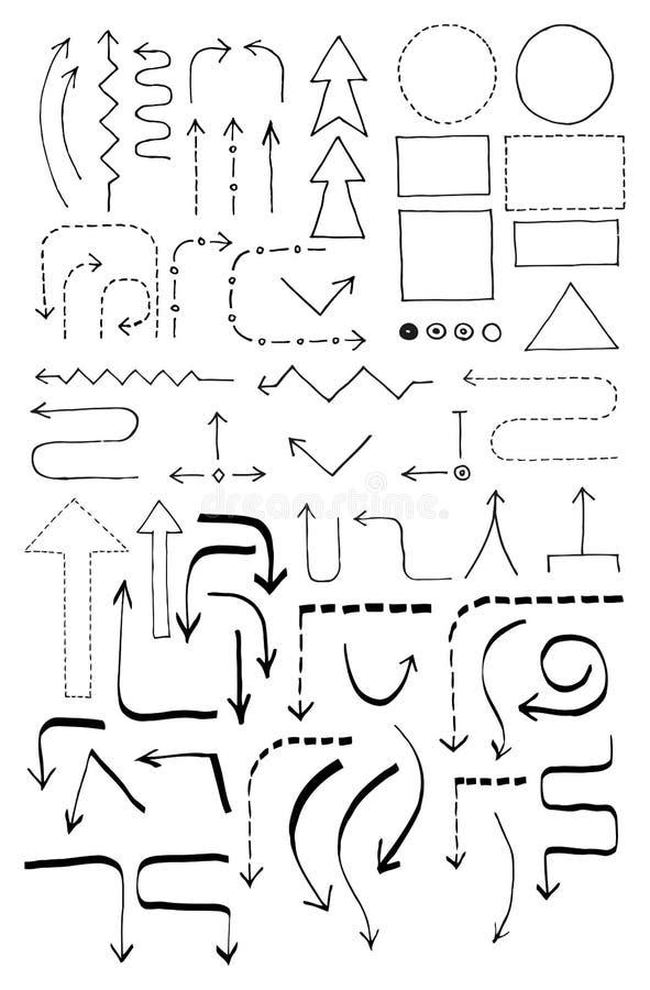 Insieme del diagramma di flusso di scarabocchio illustrazione di stock